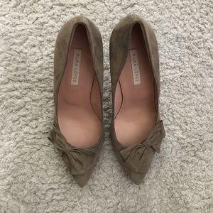 Pura López suede bow heels